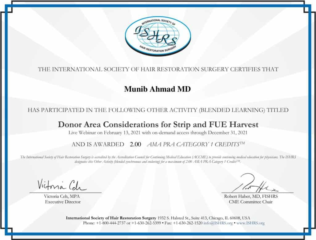 Munib Ahmad MD CME Webinar February 13 8211 Donor Area Considerations for Strip and FUE Harvest CME Credit February 2021 ISHRS Members Area