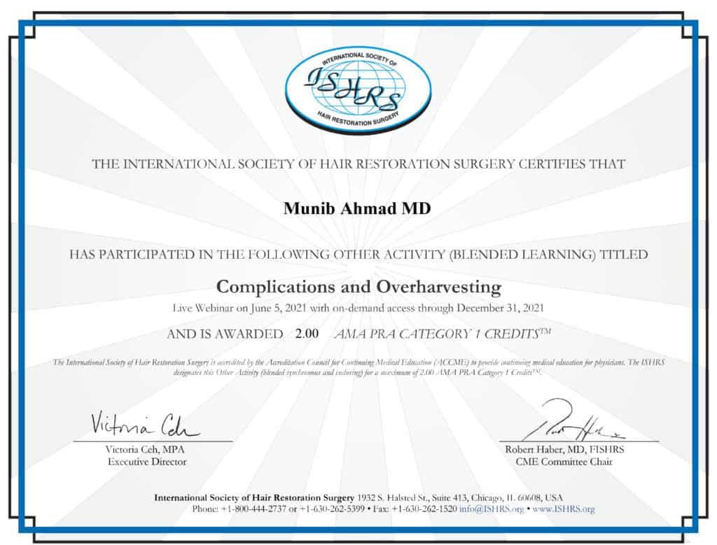 Munib Ahmad MD Claim CME Webinar June 2021 Credits CME Credit June 2021 ISHRS Members