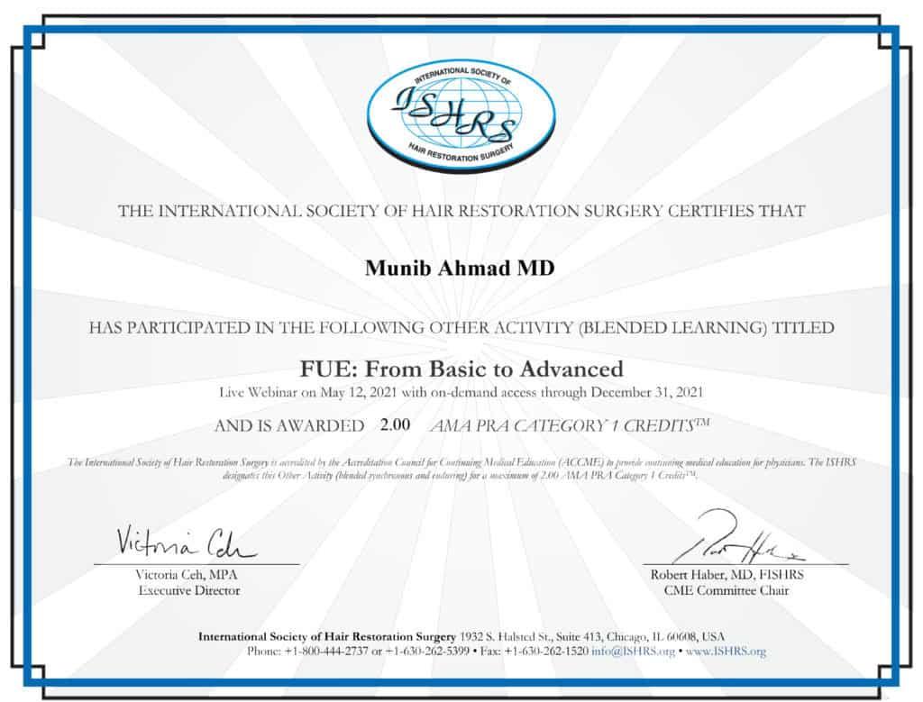 Munib Ahmad MD Claim CME Webinar May 2021 Credits CME Credit May 2021 ISHRS Member